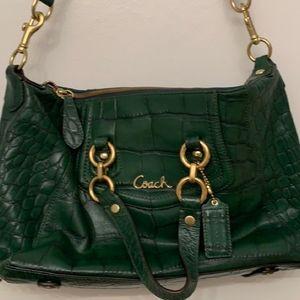Coach   Dark Green Crocodile Leather Purse Bag